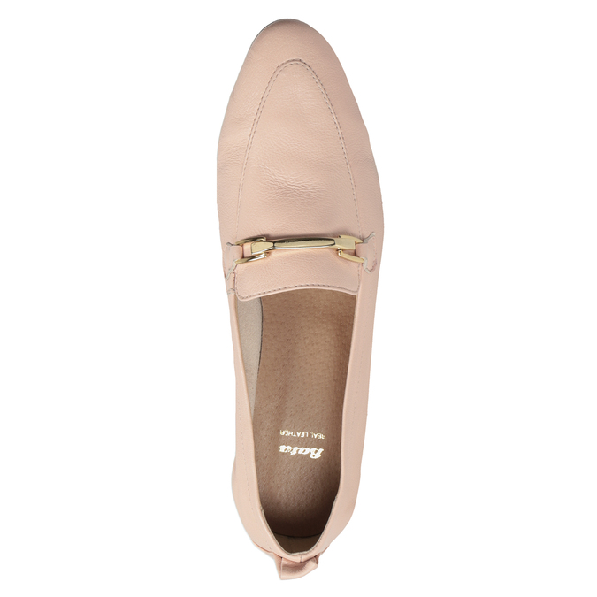 Kožené ružové dámske mokasíny bata, 516-5619 - 17