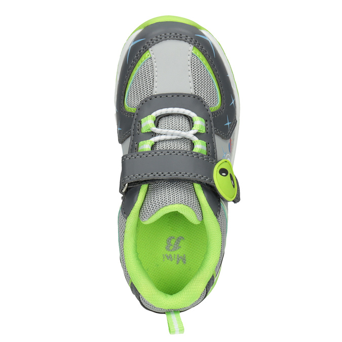 Zelené detské tenisky s blikajúcou podrážkou mini-b, šedá, 211-2102 - 15