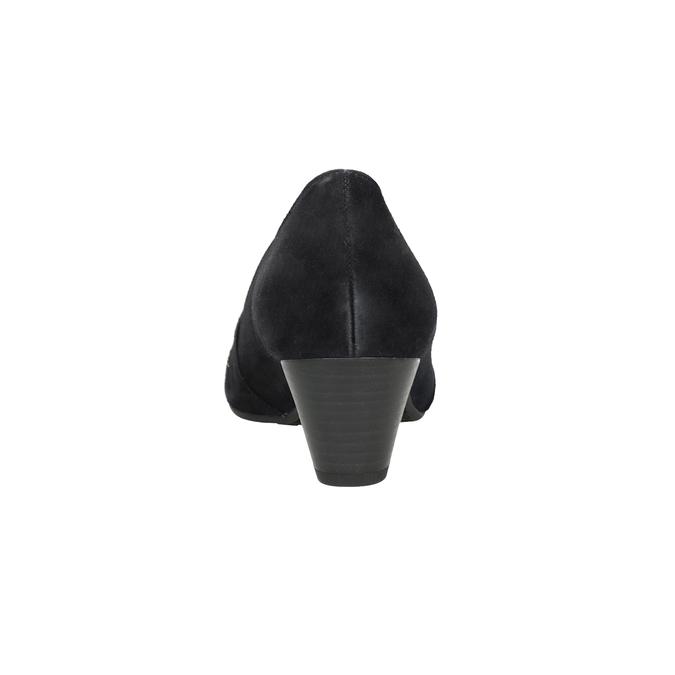 Kožené lodičky šírky H s kamienkami gabor, čierna, 723-6306 - 16