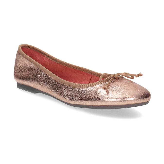 Kožené baleríny v  Rose Gold odtieni bata, 526-5144 - 13