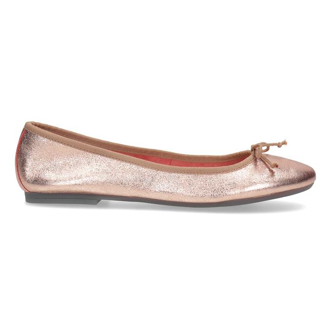 Kožené baleríny v  Rose Gold odtieni bata, 526-5144 - 19