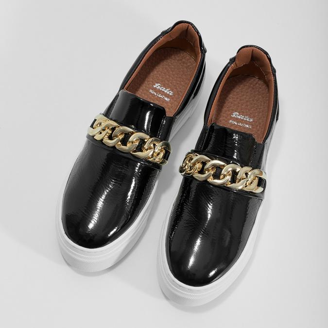 Kožená Slip-on obuv na flatforme bata, čierna, 518-6601 - 16