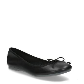 Kožené čierne baleríny s mašličkou bata, čierna, 524-6144 - 13