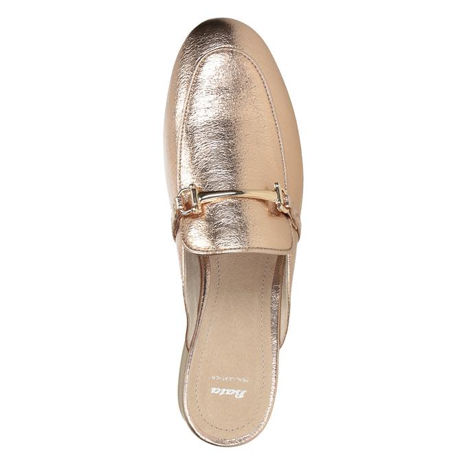 Dámske nazouváky s prackou bata, zlatá, 511-8609 - 15