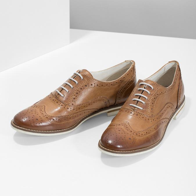 Hnedé dámske kožené poltopánky bata, hnedá, 526-3649 - 16