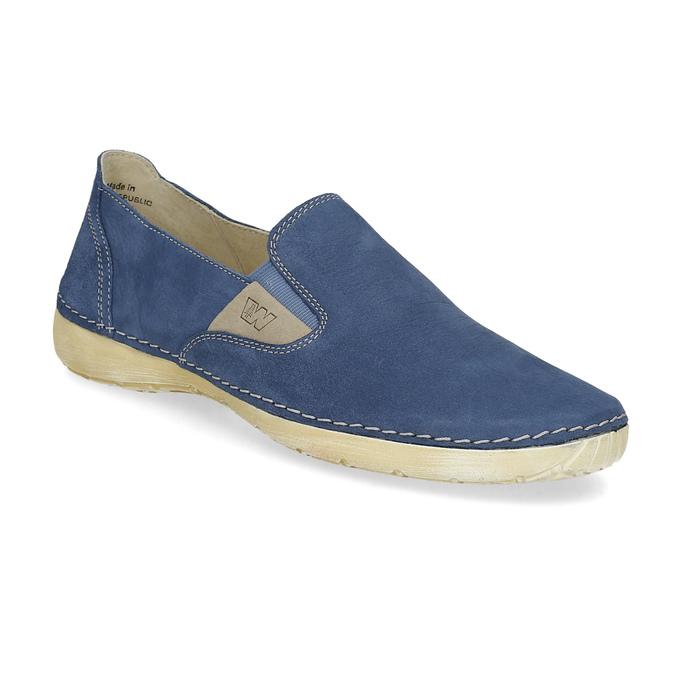 Dámske modré kožené Slip-on weinbrenner, modrá, 536-9606 - 13