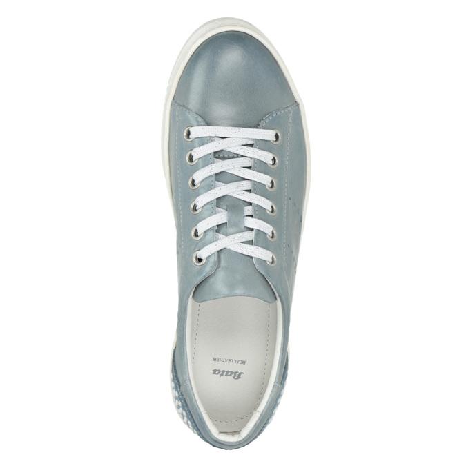 Dámske kožené tenisky s perličkami bata, modrá, 546-9606 - 15