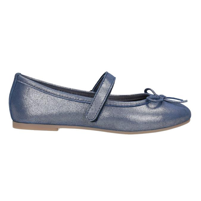 Modré kožené dievčenské baleríny mini-b, modrá, 326-9602 - 26