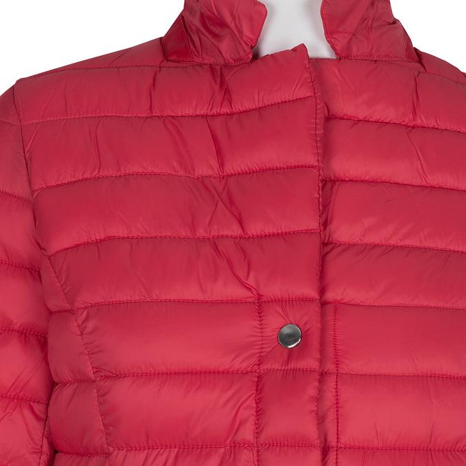 Červená prešívaná bunda s golierom bata, červená, 979-5182 - 16