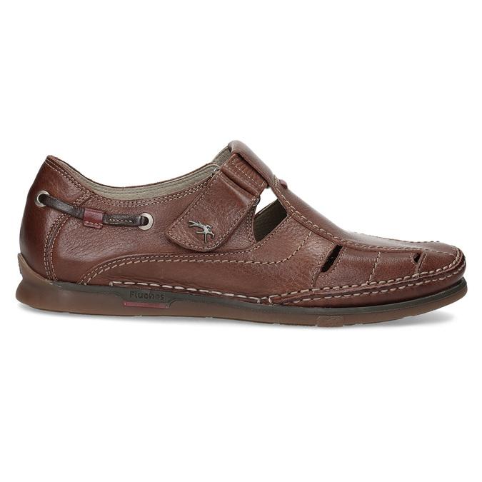 Kožené sandále na suchý zips fluchos, hnedá, 864-4605 - 19