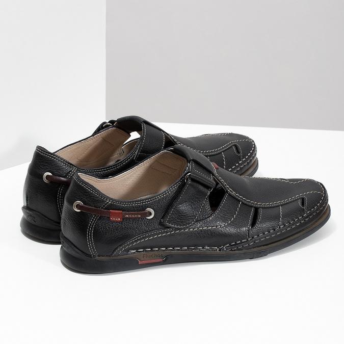 Kožené sandále s prešívaním fluchos, čierna, 864-6605 - 16