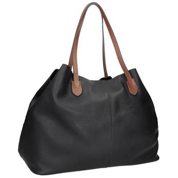 Čierna kožená kabelka s hnedými rúčkami bata, čierna, 964-6293 - 13
