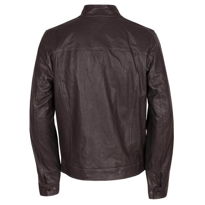 Kožená tmavohnedá pánska bunda bata, hnedá, 974-4134 - 26