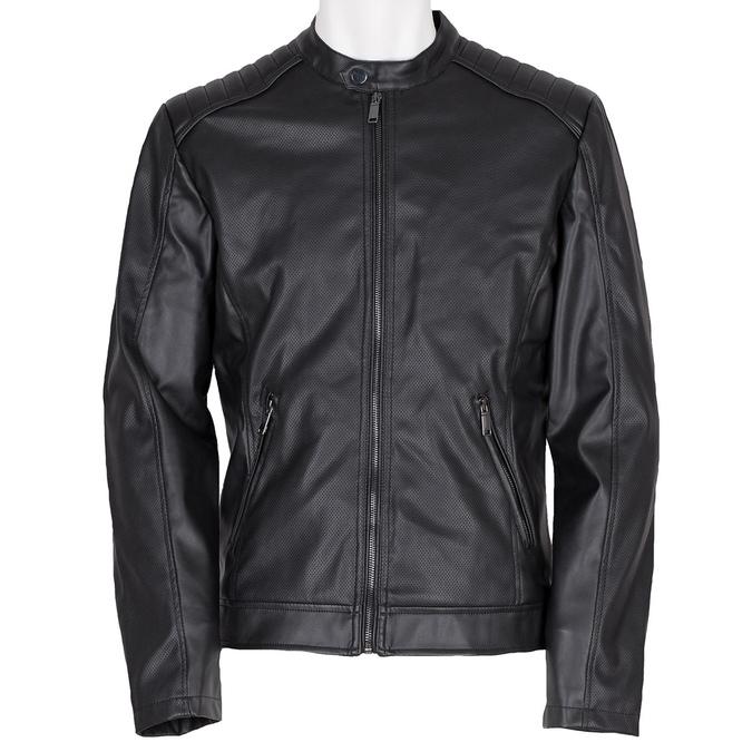 Pánska bunda s prešitím na ramenách bata, čierna, 971-6118 - 13