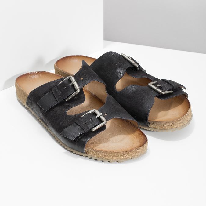 Pánske kožené nazuváky bata, čierna, 866-6648 - 26