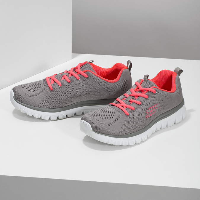 Dámske športové ružovo-šedé tenisky skechers, šedá, 509-2418 - 16