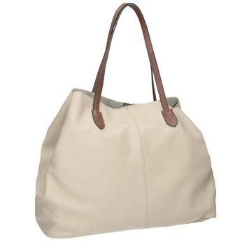 Béžová kožená kabelka s hnedými rúčkami bata, béžová, 964-8293 - 13