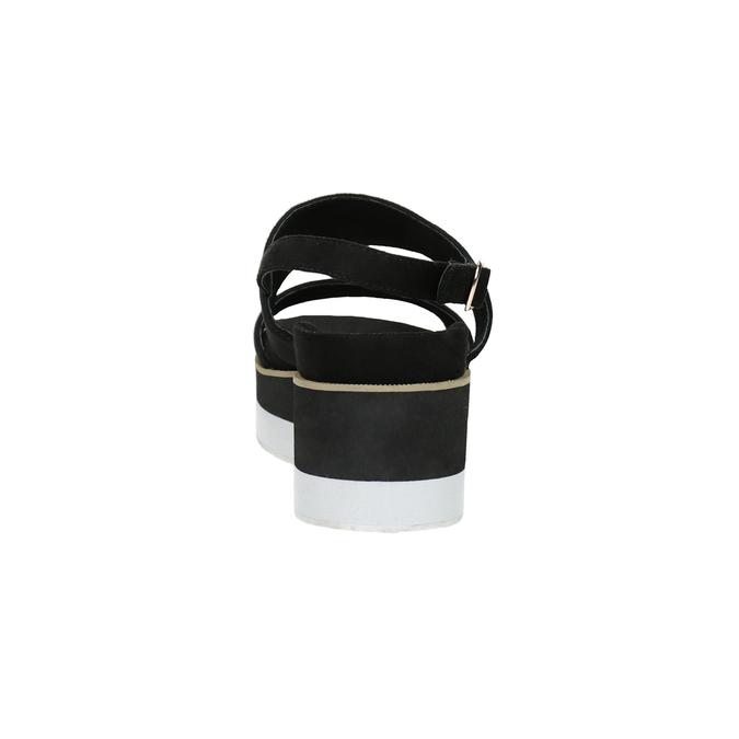 Čierno-biele sandále na flatforme bata, čierna, 769-6631 - 15
