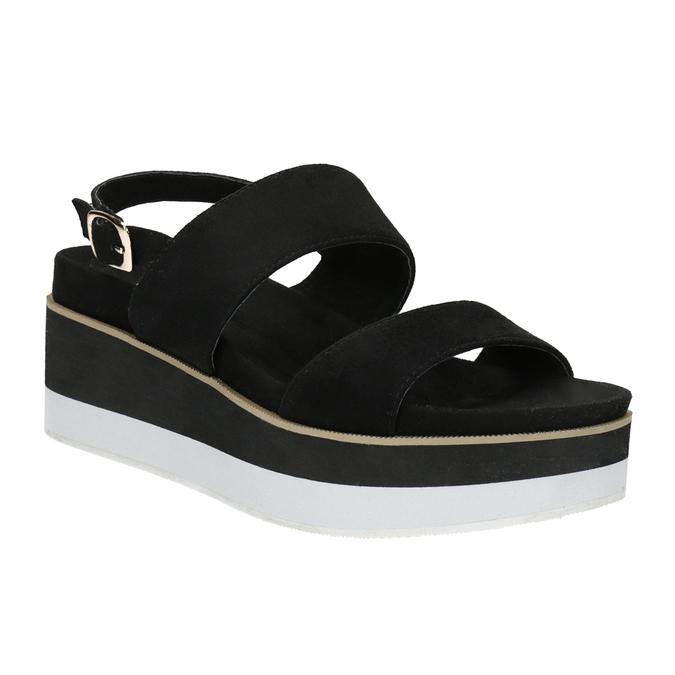 Čierno-biele sandále na flatforme bata, čierna, 769-6631 - 13
