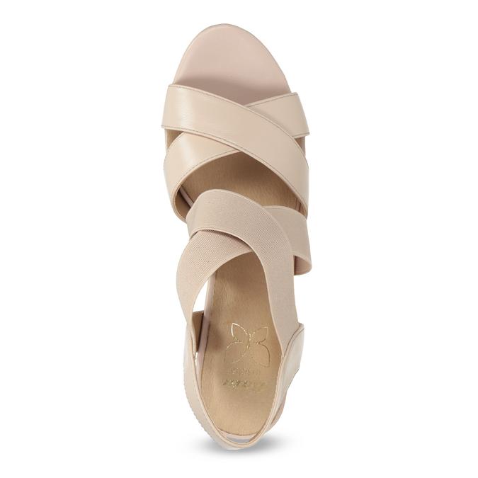 Béžové kožené sandále na stabilnom podpätku insolia, béžová, 766-8606 - 17