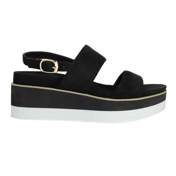 Čierno-biele sandále na flatforme bata, čierna, 769-6631 - 19