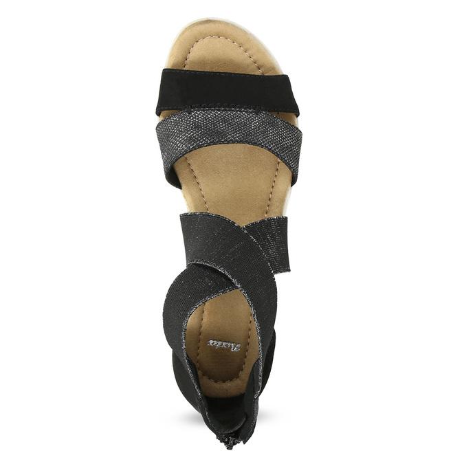 Čierno-strieborné dámske sandále bata, čierna, 569-6608 - 17