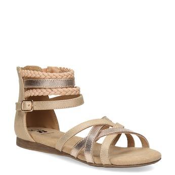 Zlaté dievčenské sandále s pletením mini-b, zlatá, 361-8605 - 13
