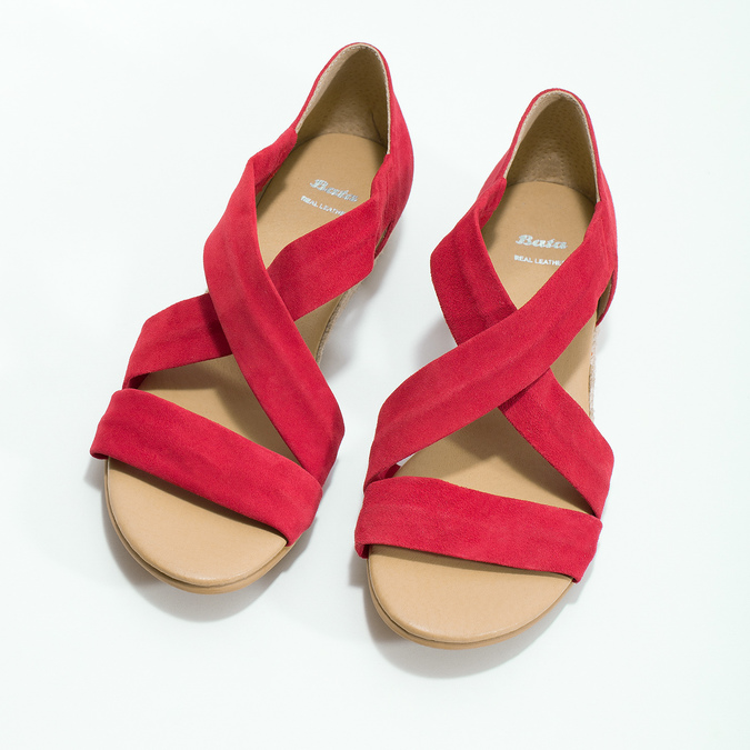 Červené kožené sandále na kline bata, červená, 563-5600 - 16
