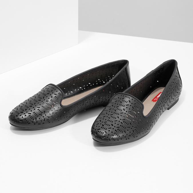 Čierne dámske baleríny s perforáciou bata-red-label, čierna, 521-6612 - 16