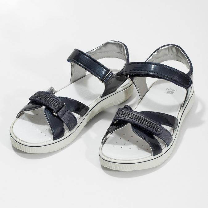 Modré dievčenské sandále s kamienkami mini-b, modrá, 361-9612 - 16