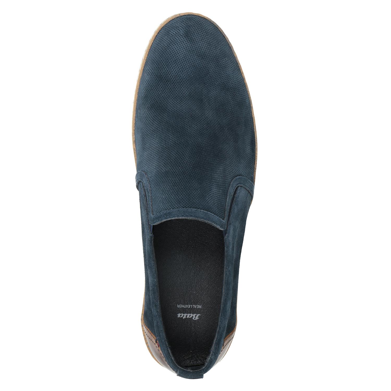 12520842de49d Bata Pánske Slip-on z brúsenej kože tmavomodré - Všetky topánky ...