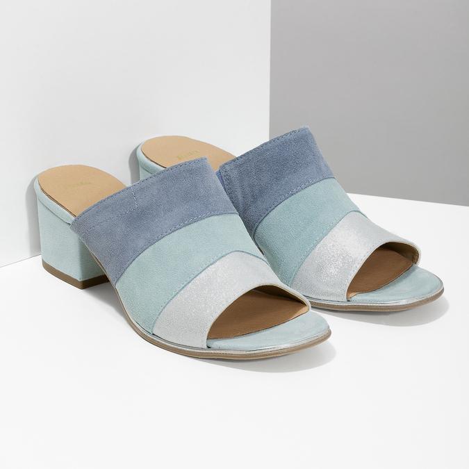 Kožené modré nazuváky na podpätku bata, modrá, 666-9625 - 26