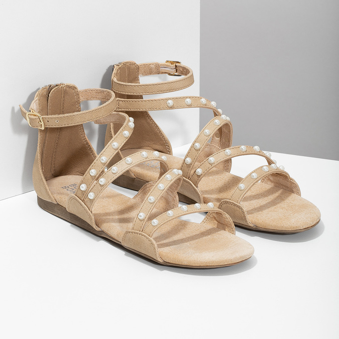 Dievčenské sandále s perličkami bullboxer, béžová, 361-8609 - 26