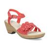 Sandále na stabilnom podpätku s kvetinami comfit, červená, 661-5613 - 13