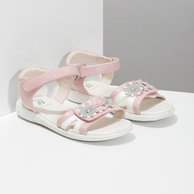 Ružovo-biele dievčenské sandále s kvetmi mini-b, ružová, 261-5615 - 26