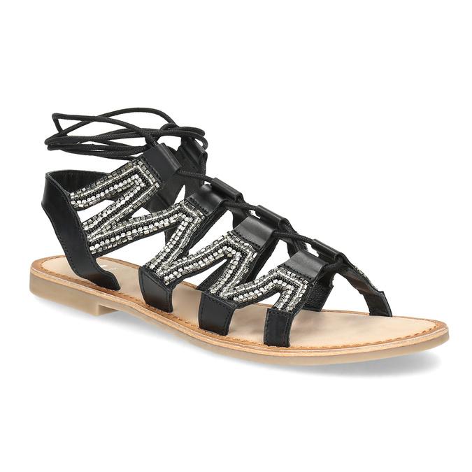 a339bbfd98b6d Čierne kožené sandále so šnurováním a korálkami bata, čierna, 566-6639 - 13