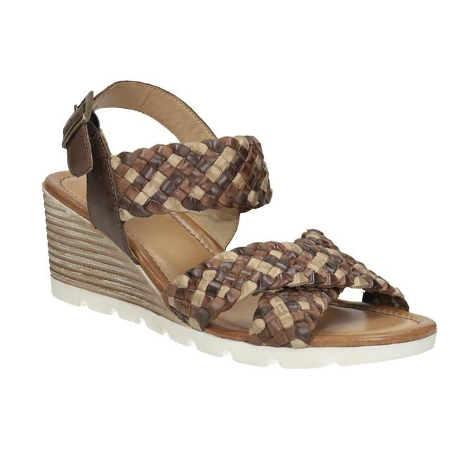 ecdc6a825b97 Bata Kožené hnedé pletené sandále na kline - Klinový podpätok