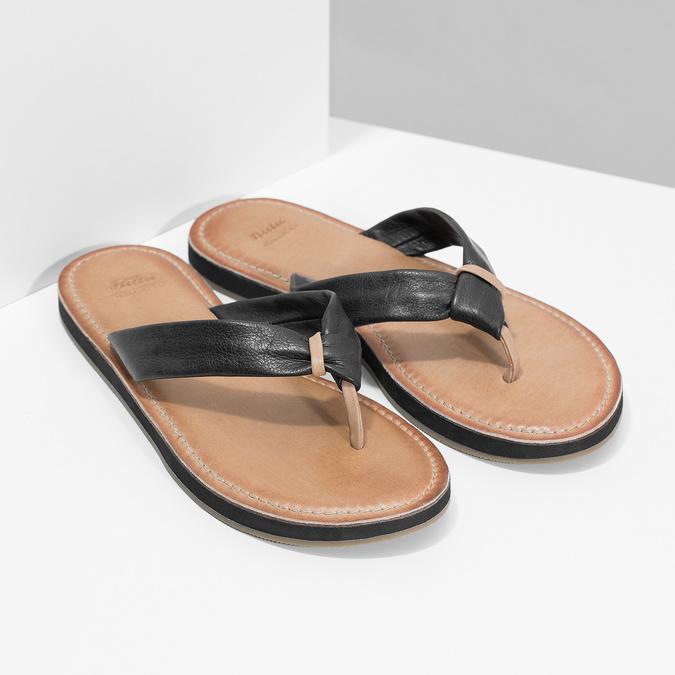 Čierne kožené dámske žabky bata, čierna, 566-6645 - 26