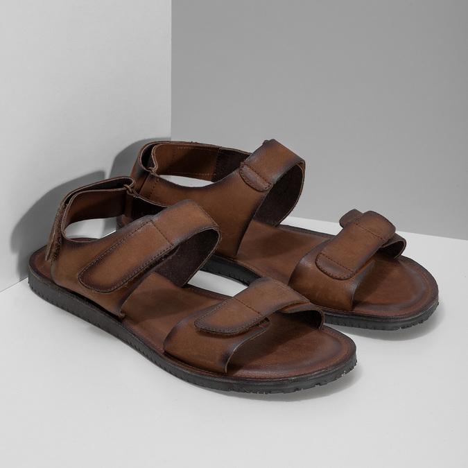 Pánske kožené hnedé Ombré sandále bata, hnedá, 866-4633 - 26
