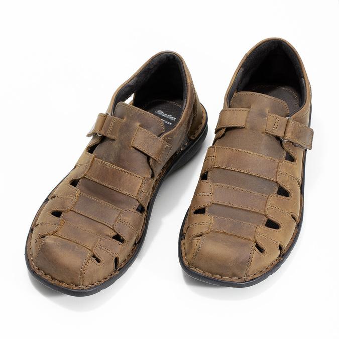 Kožené hnedé pánske sandále bata, hnedá, 864-4600 - 16