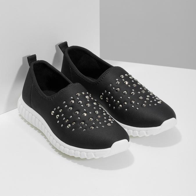 Dámska nazúvacia obuv s kamienkami bata-red-label, čierna, 539-6604 - 26