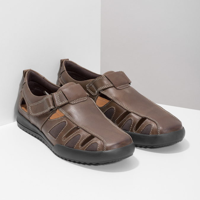 Kožené pánske sandále comfit, hnedá, 856-4605 - 26