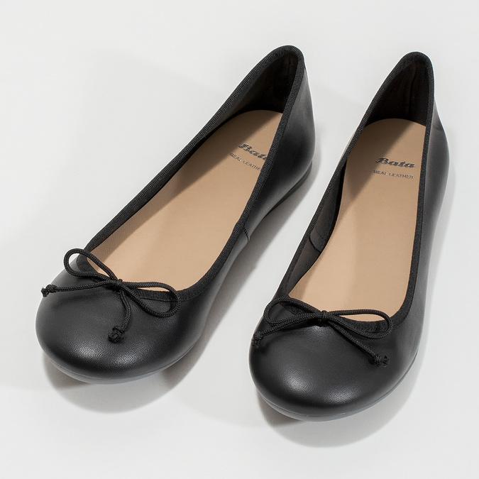 Kožené čierne baleríny s mašličkou bata, čierna, 524-6144 - 16