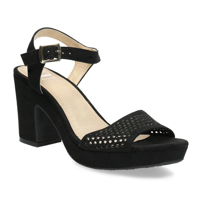 e83d21d0fde6 Insolia Čierne sandále na širokom podpätku s kamienkami - Sandále ...