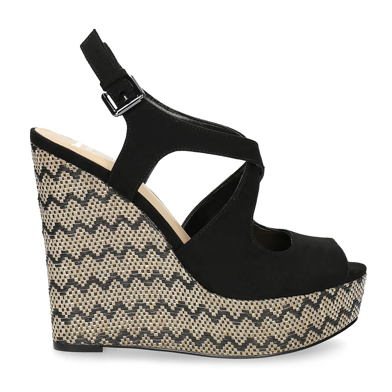 d42b93d5faab Insolia Dámske čierne sandále na kline so vzorom - Klinový podpätok ...