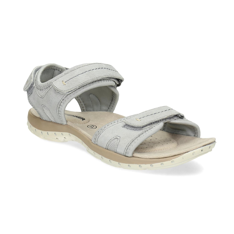 2caae14ca Kožené dámske sandále na suchý zips weinbrenner, šedá, 566-2608 - 13 ...