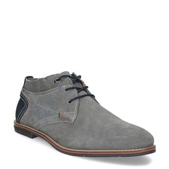 Chukka boots z brúsenej šedej kože bugatti, šedá, 823-2015 - 13