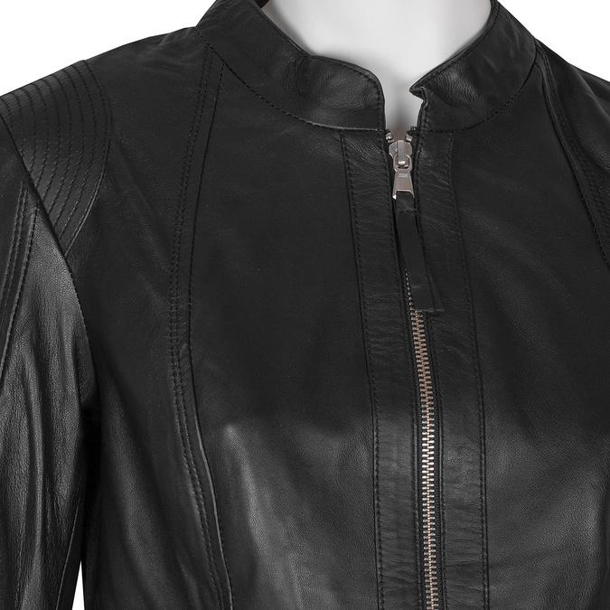 Čierna kožená bunda dámska bata, čierna, 974-6180 - 16