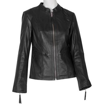Čierna kožená bunda dámska bata, čierna, 974-6180 - 13
