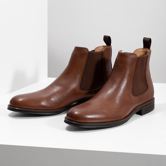 Hnedé kožené Chelsea Boots bata, hnedá, 896-3400 - 16
